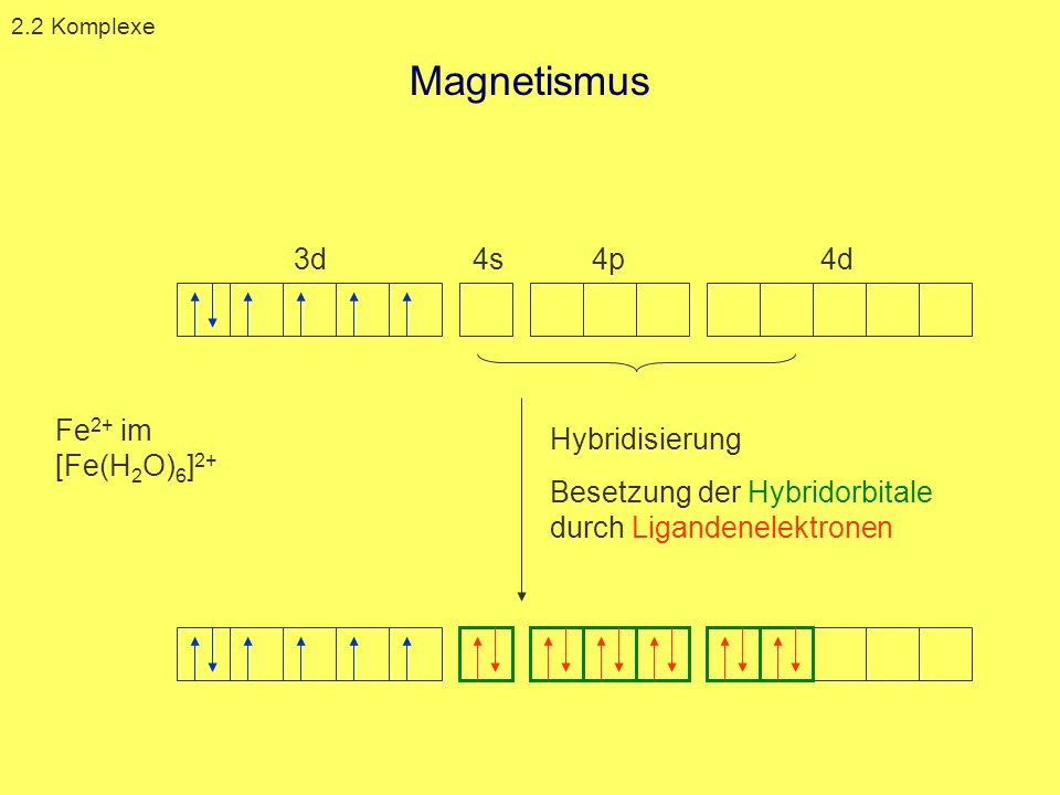 Magnetismus 3d 4s 4p 4d Fe2+ im [Fe(H2O)6]2+ Hybridisierung